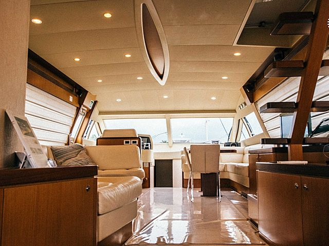 yacht cabin area connected with wooden floors