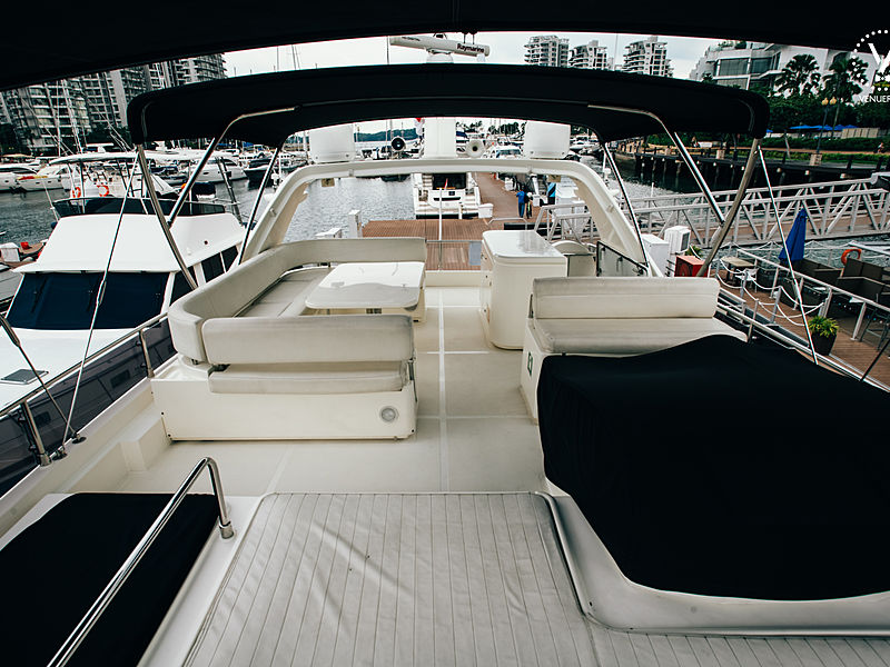 yacht upper deck area covered with roof tent