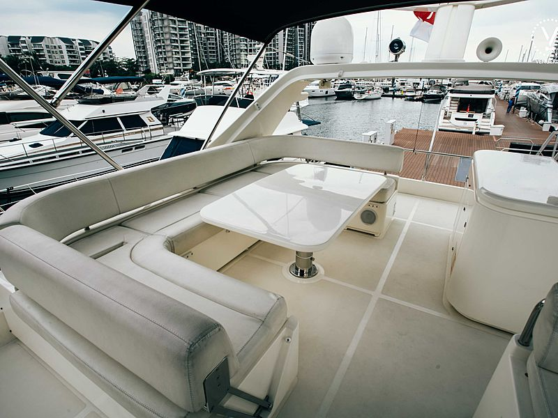 yacht upper deck covered with black roof tent