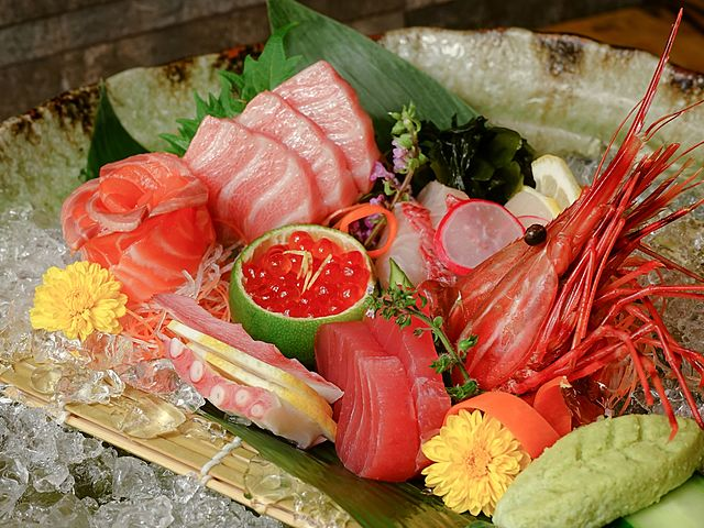 sashimi served in a plate full of ice