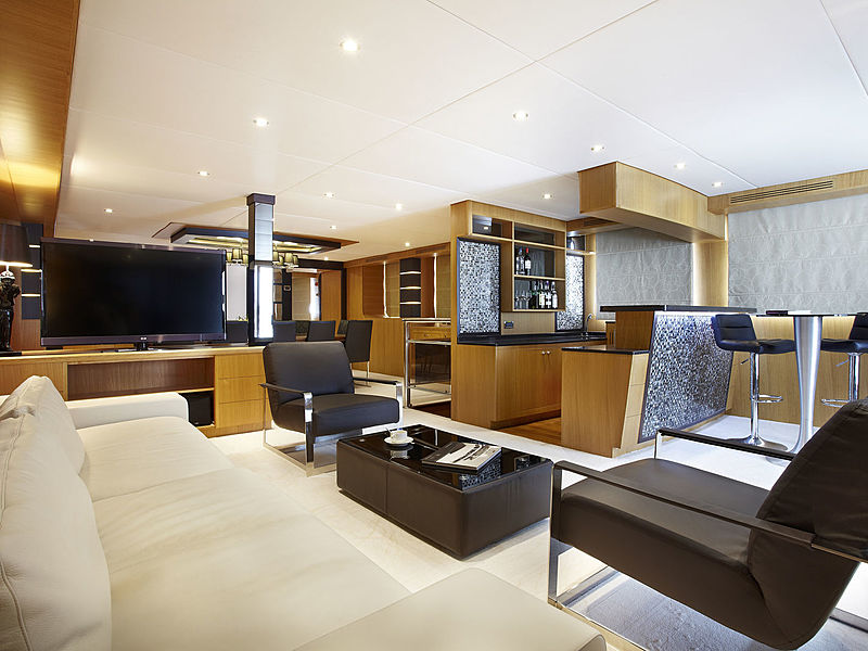 singapore yacht cabin with television and small pantry