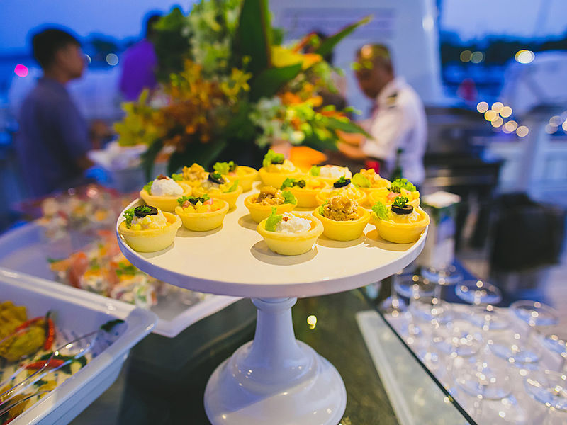 desserts display in white buffet plates