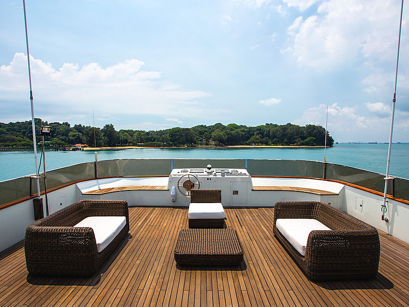 yacht back deck with rattan chairs and sea view