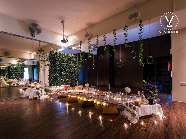 singapore large function room decorated with low table and candle lights