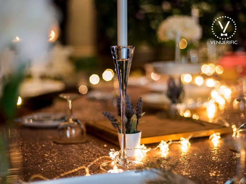 dining room decorated with fairy lights for 40th birthday celebration