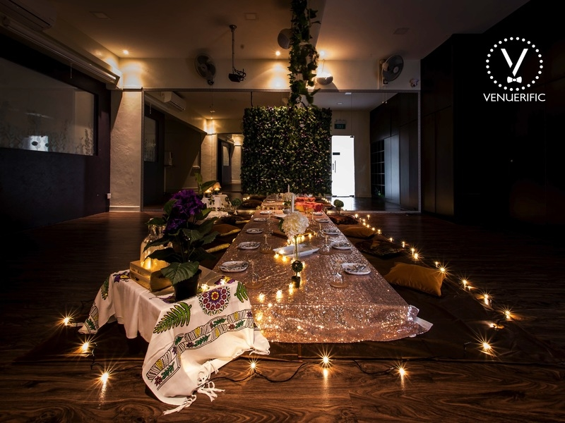 bridal shower party decorations with low table and candle light
