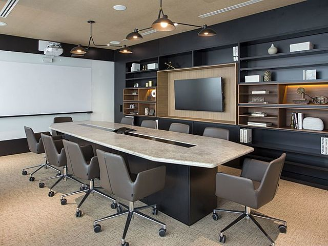 private meeting room equipped with tv screen on the wall