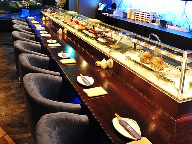 japanese sushi bar seating area