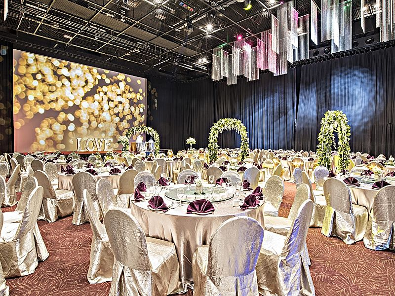 white banquet wedding hall with black draped