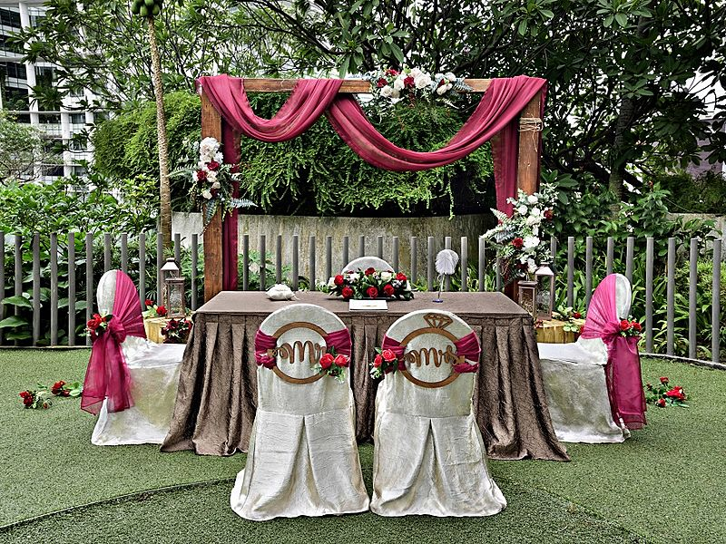 intimate wedding decoration in the garden with flowers