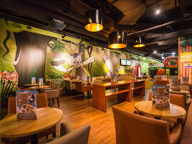 kids playground cafe area with cartoon character wallpapers
