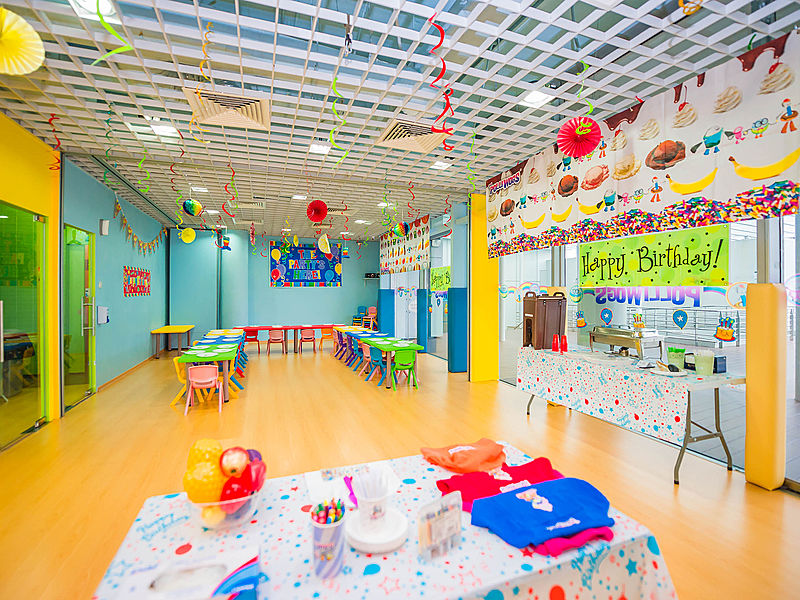 private room in kids playground decorated with birthday decoration