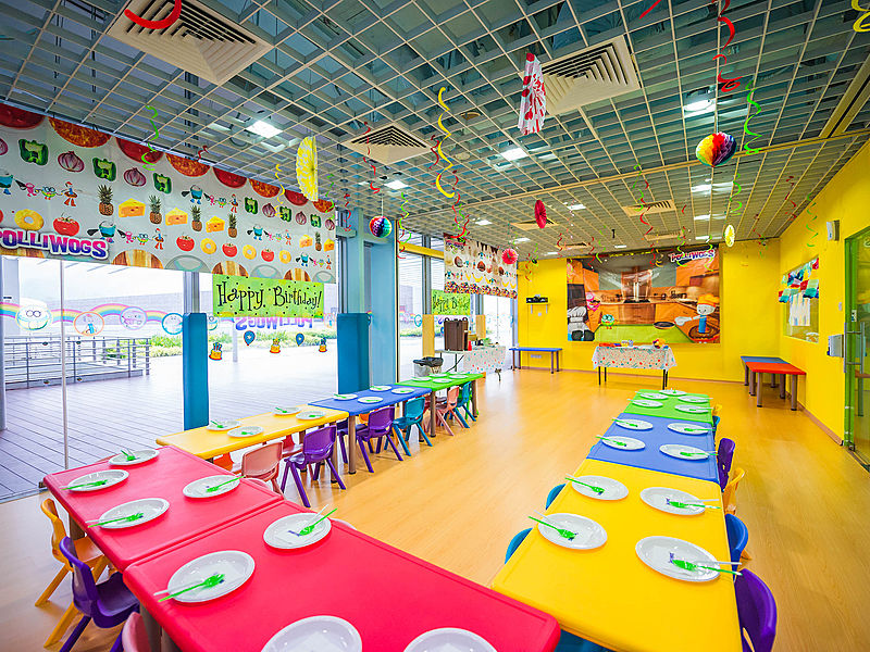 singapore kids party venue with colourful theme and glass wall