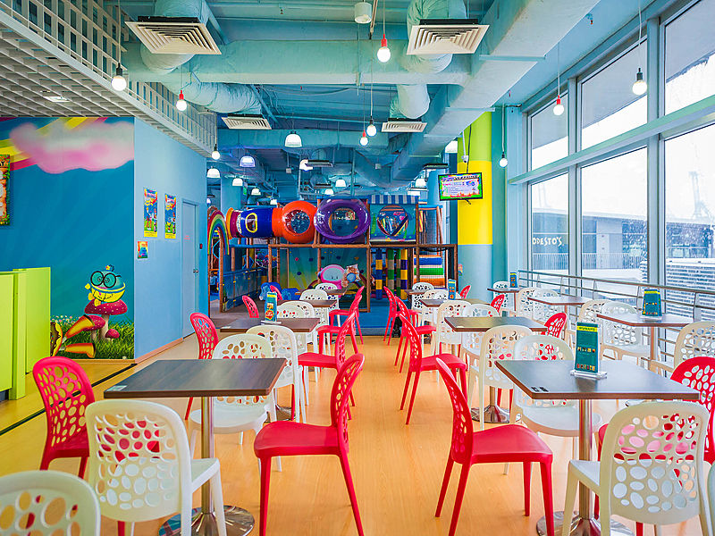 waiting room in singapore blue-themed kids playground