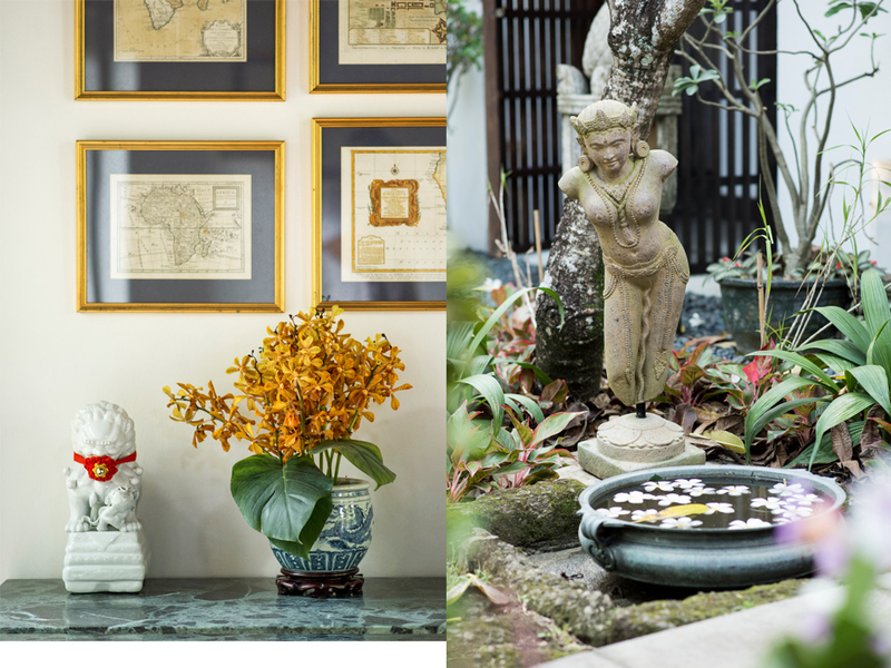 balinese ornament villa in singapore with garden area