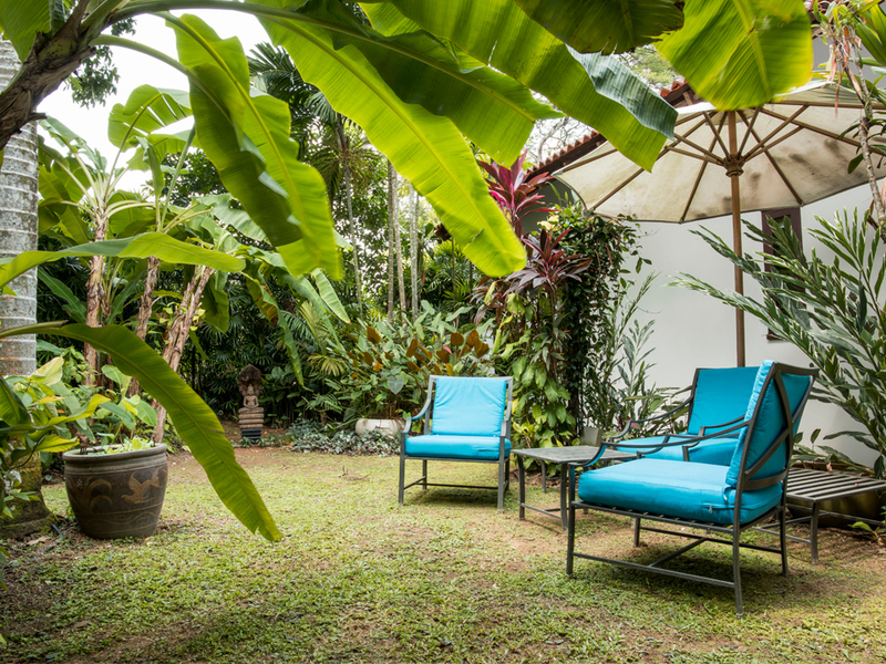mini garden with blue chairs in private event space singapore