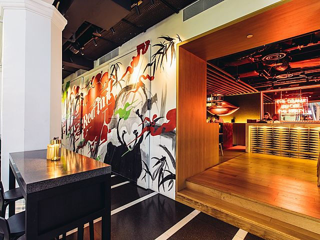 dining lounge with wall mural as decor