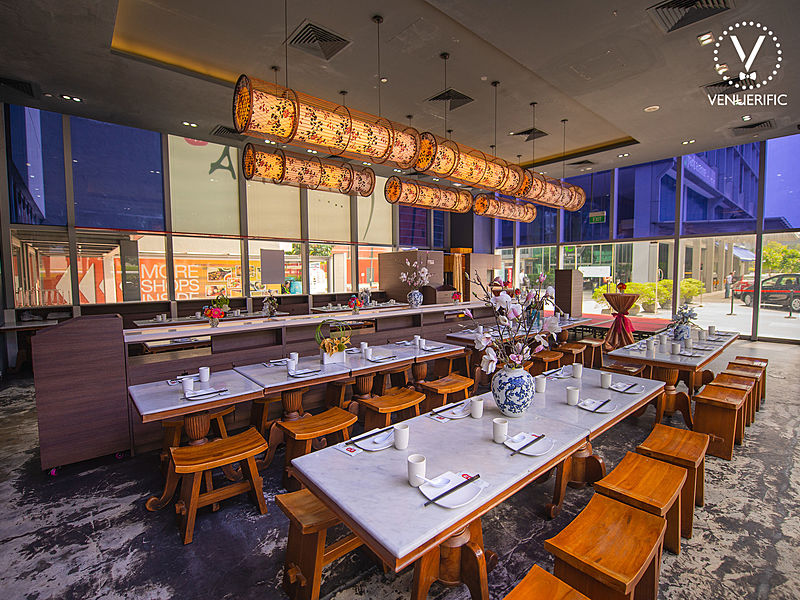 singapore modern restaurant with high glass window wall