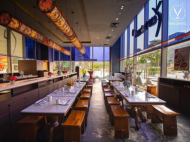 medium scale restaurant with wood furniture