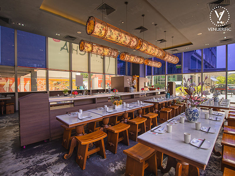 restaurant furnished with glass film on the glass wall