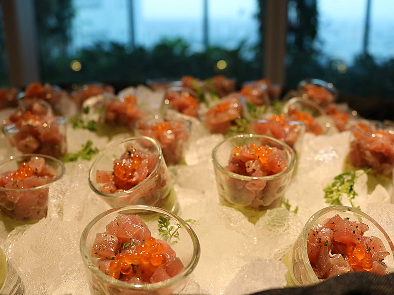 banquet event with sashimi as appetizers