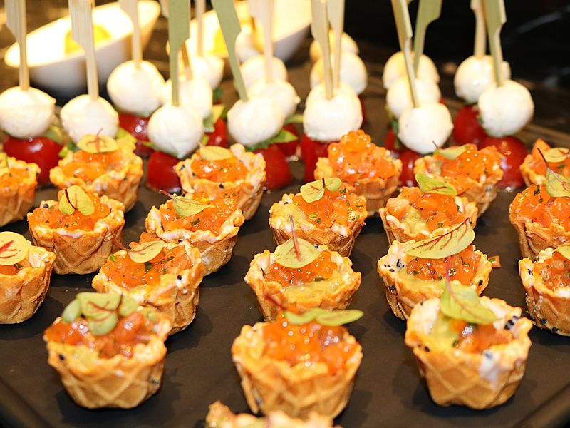 waffle cups with salmon roe as a topping