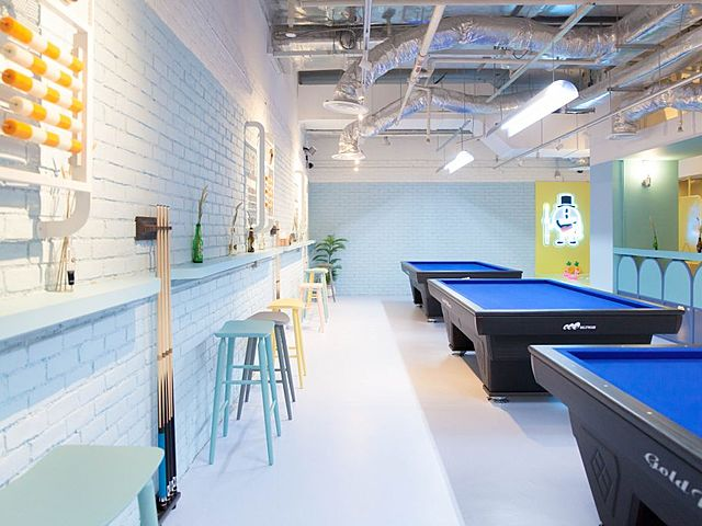 mini cafe with several blue pool tables