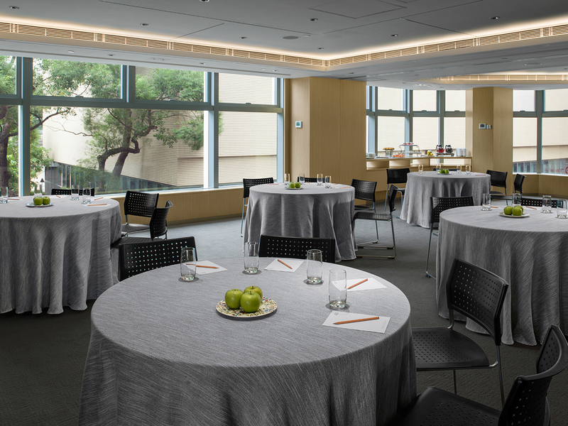 round table setup with white table cloth