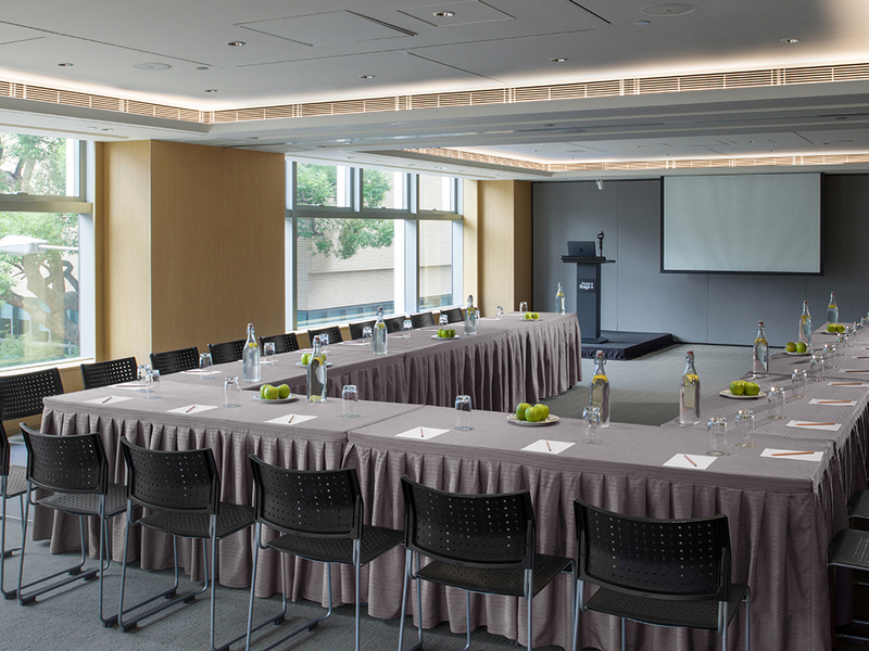private meeting room with conference setup