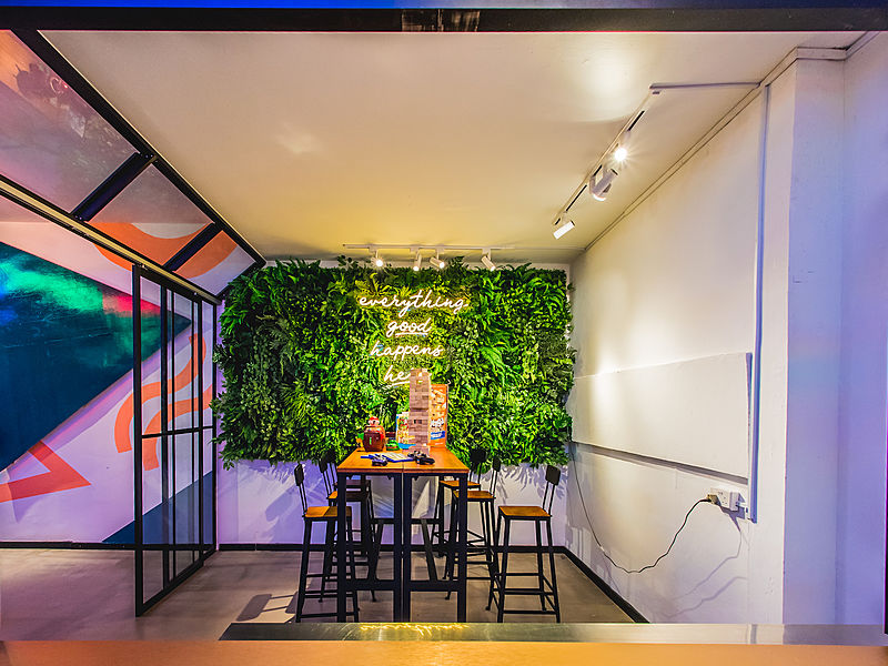 indoor glasshouse cafe for small event space
