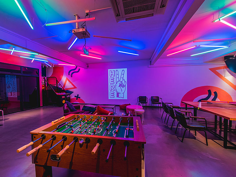 event space with table soccer and fun decoration