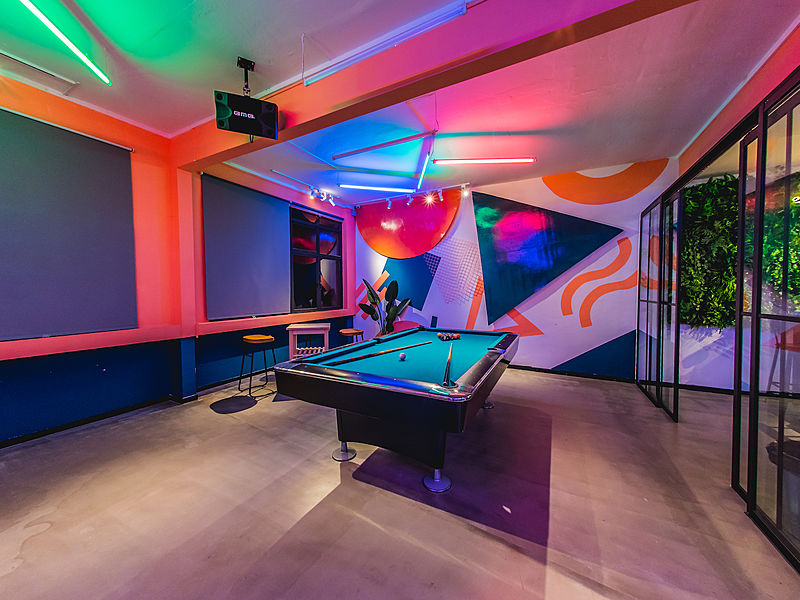 private room with pool table and fully-customizable mood lighting