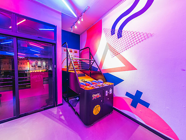 birthday event space with foldable indoor basketball game