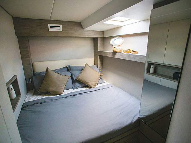 the bedroom of catamaran kucinta