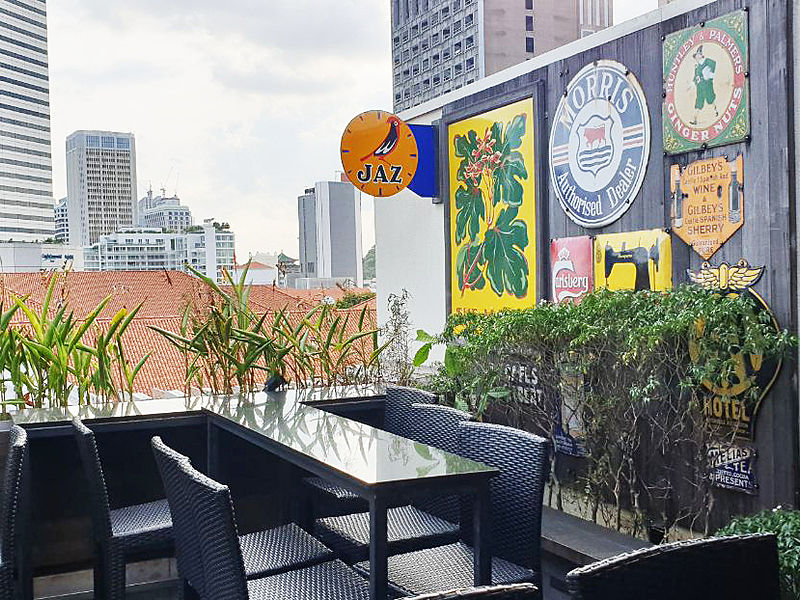 outdoor space with city view in day time and vintage wall