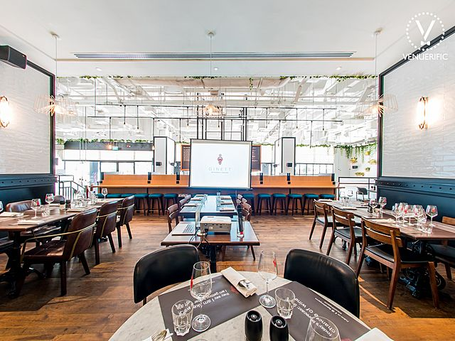 restaurant area perfect for corporate event with screen projector