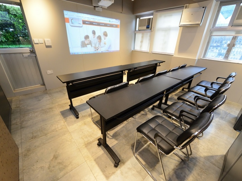 classroom setup with visual setting in a private meeting room
