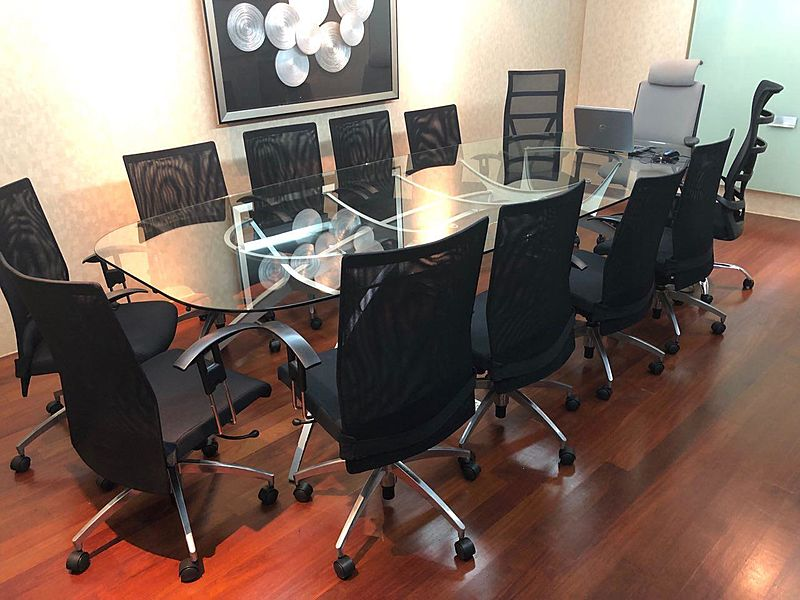 private meeting room with boardroom setup