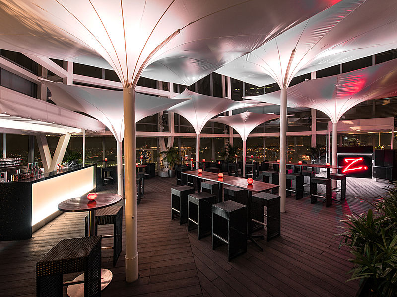 rooftop bar with white membrane tent decoration