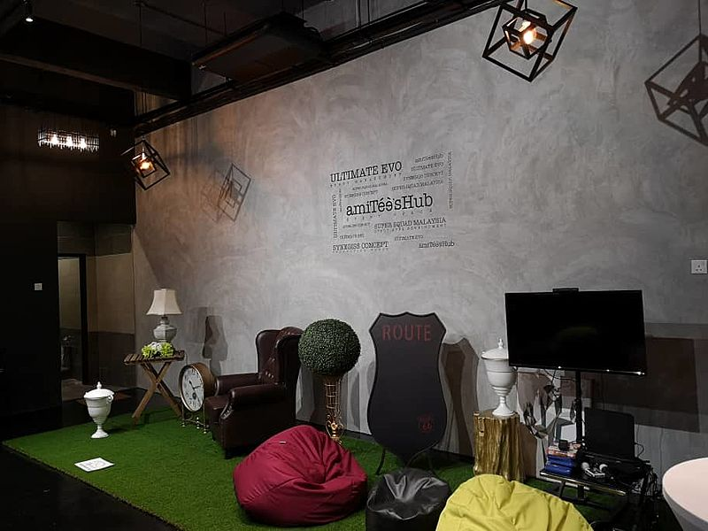 event space area with bean bag and entertainment
