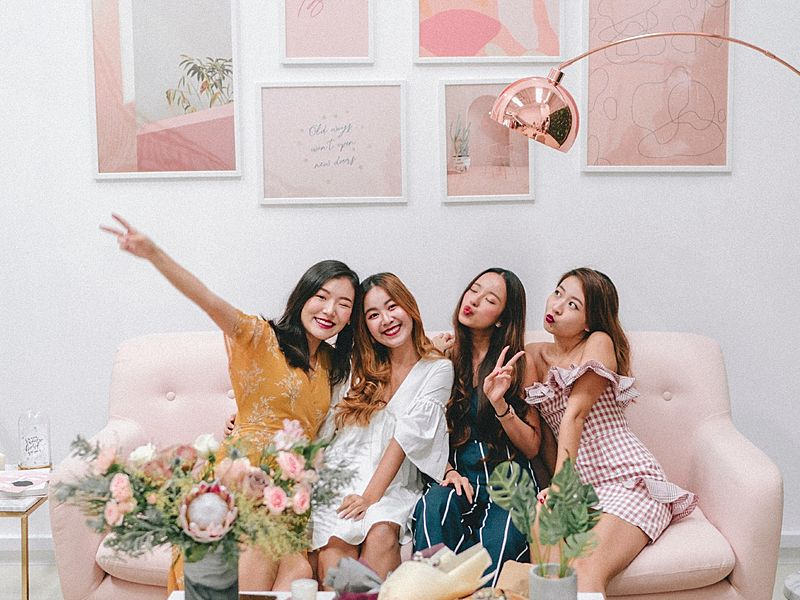 pink pastel themed venue in singapore for bridal shower party