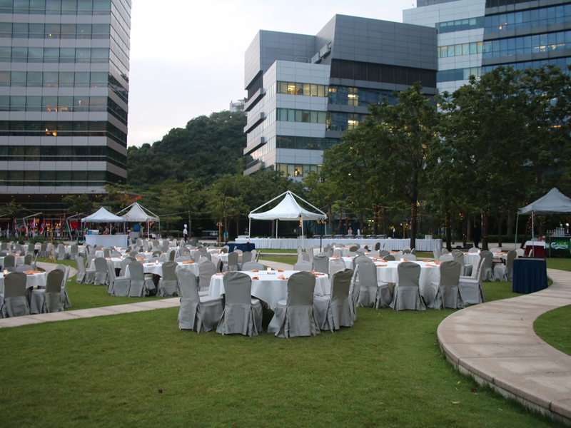 outdoor wedding event venue with banquet style setup