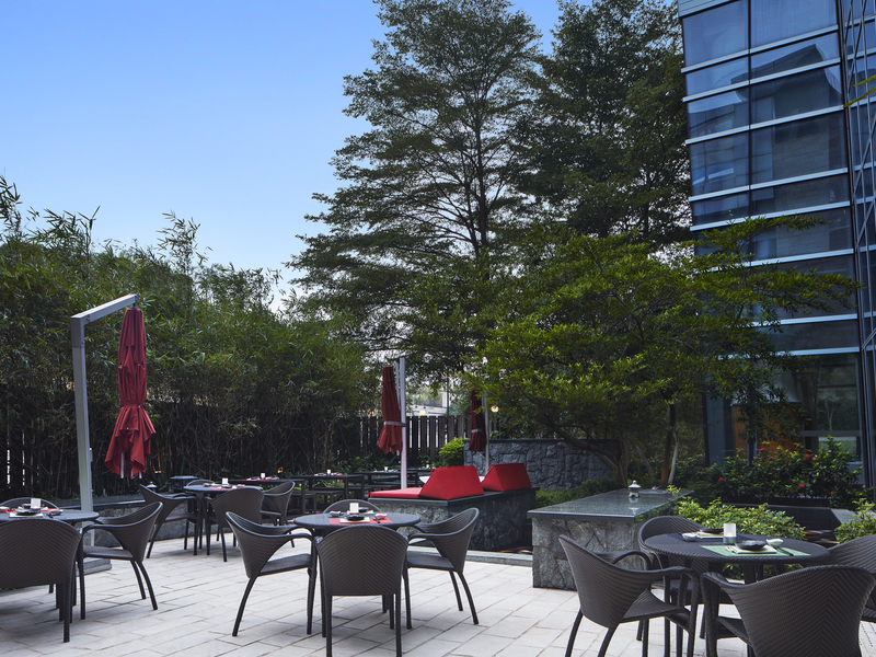 outdoor networking area surrounded with green environment