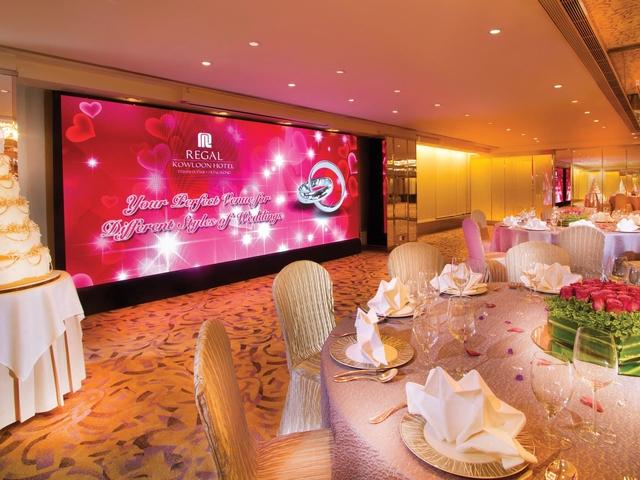 hotel ballroom with wedding decoration