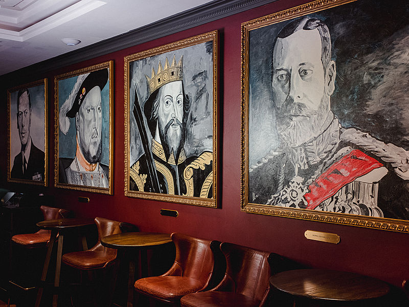 singapore bar with british art paintings display