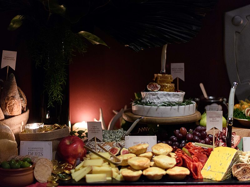 cheese display in buffet table