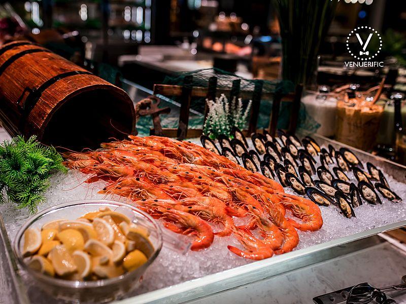shrimp and scallops display as part of buffet menu