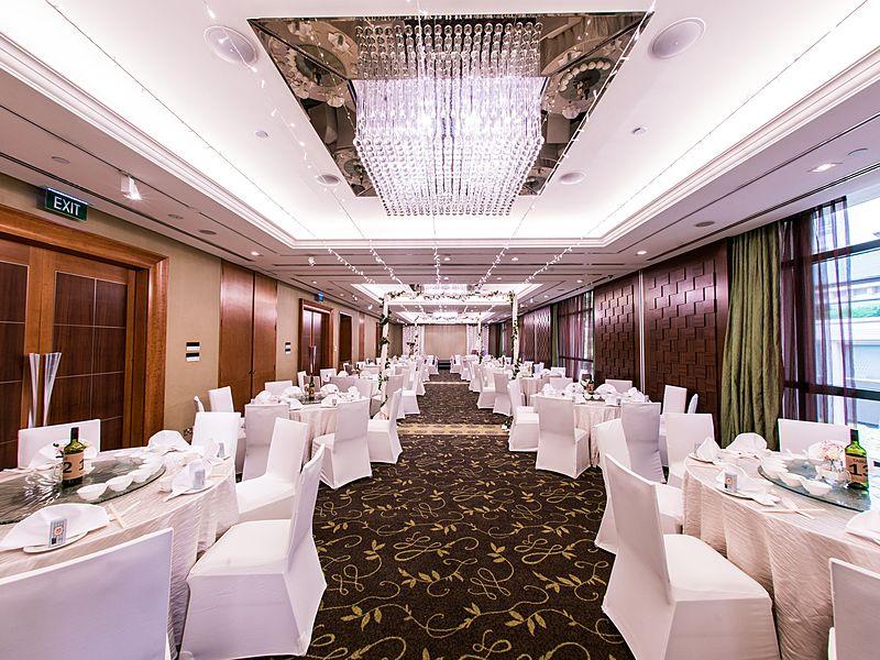 elegant ballroom with big rectangular crystal ceiling lamp