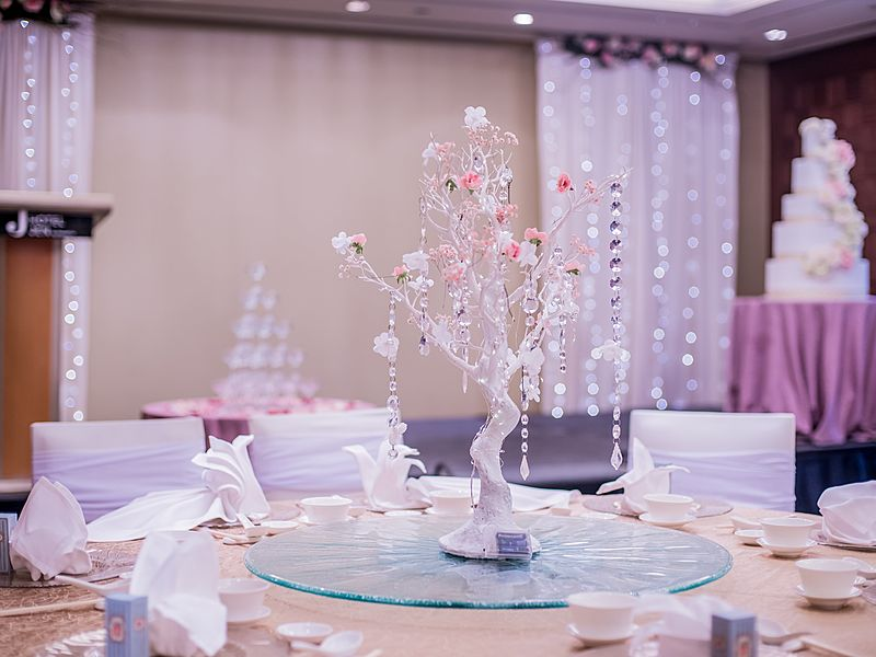 table decoration for wedding party with tree