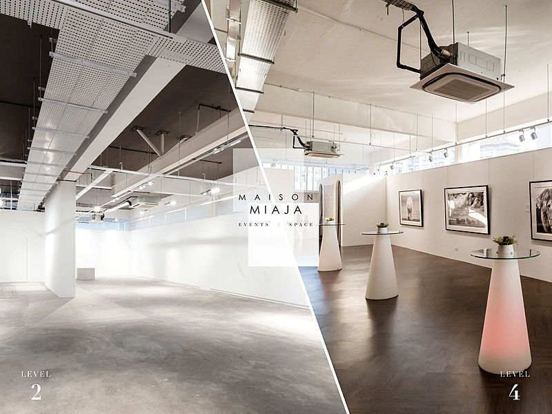 before and after exhibition with event decoration